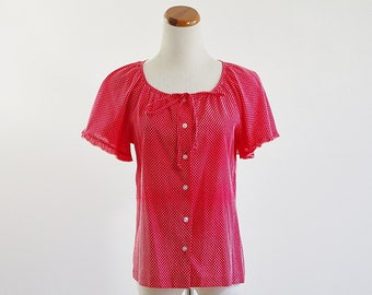 Vintage Polka Dot Blouse -- 70s Red and White Peasant Top -- Flutter Sleeve -- Medium