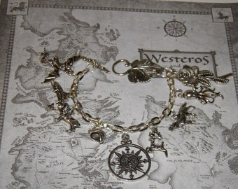 Game of Thrones Bracelet, Dragon Jewelry, Wolf Jewelry, House Sigil, Coat of Arms, Steampunk Jewelry, LARP, Game of Thrones Jewelry