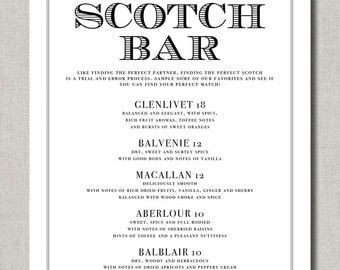Scotch Bar - 8 x 10 Wedding Poster, Bar Sign, or Table Sign by Abigail Christine Design