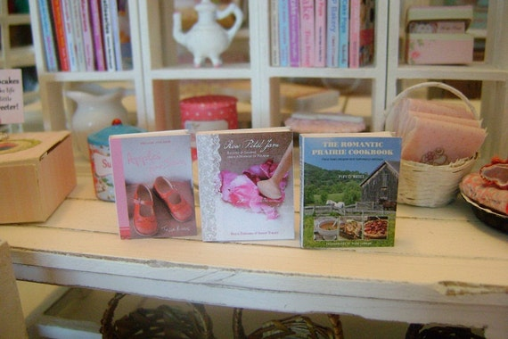 COOKBOOK BOOKS Romantic Cottage Country Style Shabby Chic Decor - Dollhouse Miniature 1/12 Scale