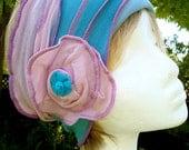 Womens Headband Duck Egg Blue head wrap headcover headscarf chemo hat alopecia bohemian hippie chic
