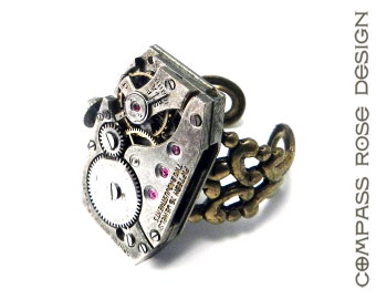 STEAMPUNK Ring Square Clockwork Watch Ruby 15 Jewel Movement Sphere Watch Co. Brass Adjustable Ring