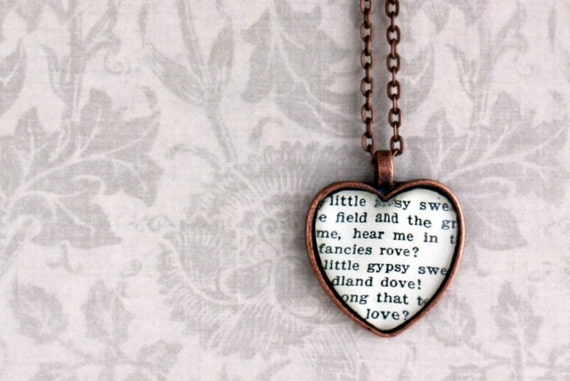 Sheet music necklace.  Antiqued copper pendant with real vintage sheet music under glass dome.  Song lyrics words