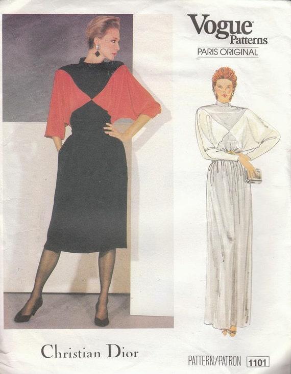 Vintage CHRISTIAN DIOR 80's Dress Pattern Vogue Paris Original