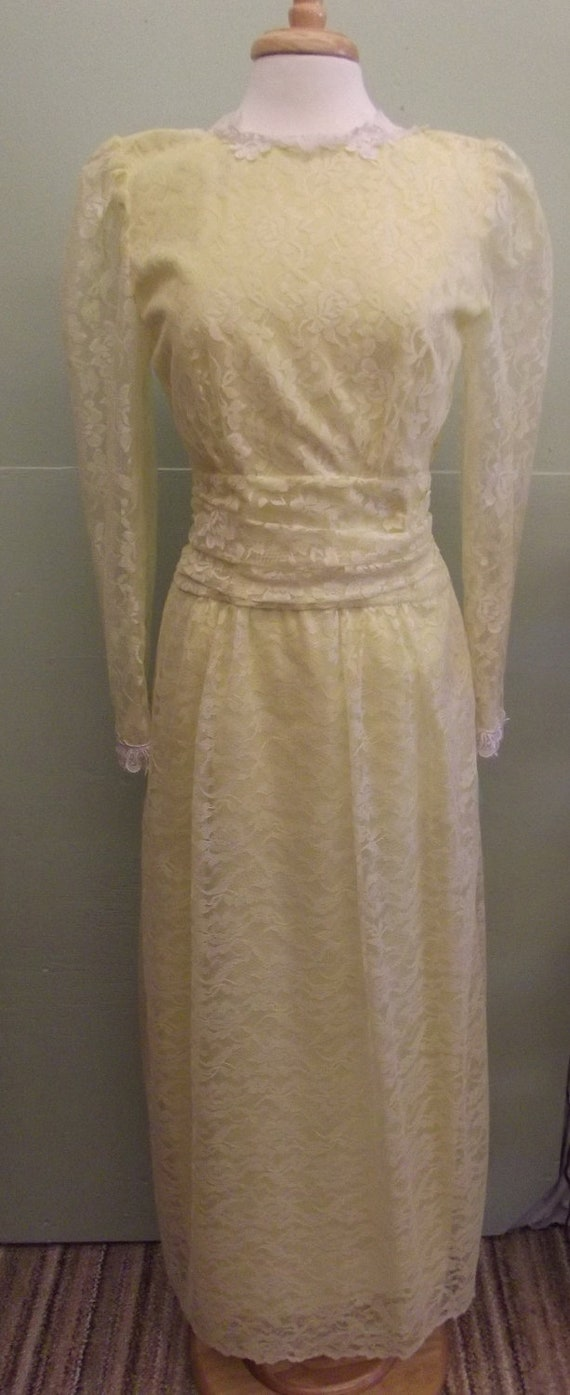 Reduced, was 40.00  Long Sleeve circa 1960s Lace Formal Dress