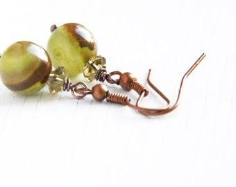 Summer Outdoors Green Agate Earrings Birthstone Earrings Faceted Peridot Natural Gemstone Earrings Wire Wrapped Green Stone Earrings
