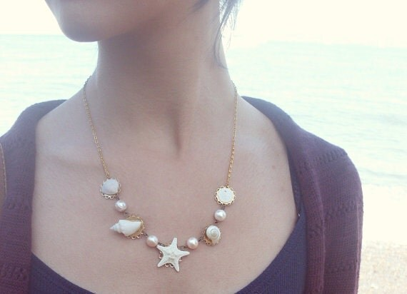 Beach Bridal Necklace Beach Wedding Jewelry Bride Bridesmaids Starfish Pearl Seashell Sea Shell Mermaid Nautical Womens Gift For Her