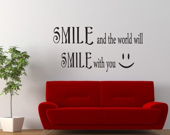 Vinyl Wall Decal Sticker Smile Smile Quote GFoster183B