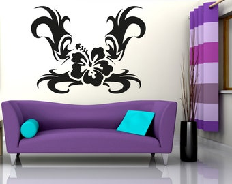 Vinyl Wall Decal Sticker Tribal Hawaiian Flower OSAA271B