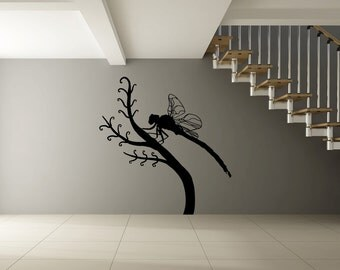 Vinyl Wall Decal Sticker Dragonfly on Branch OSMB695s
