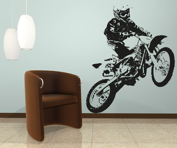 Vinyl wall decal sticker motocross osaa194b by stickerbrand for Dirt bike wall mural