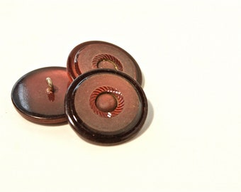 Burgandy Vintage Buttons - 1950s Plastic Buttons - New Old Stock Buttons - Burgandy Buttons- Metal Shank