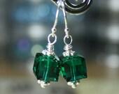 ON SALE- Emerald Green Swarovski Crystal Cube Earrings - Dark Green - Handmade with Sterling Silver and Swarovski Crystal