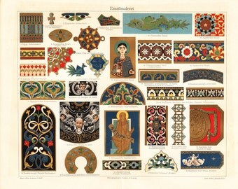 1900s antique PAINTING PATTERN  lithograph, ancient motifs for fabric printing from Egypt, China, Japan, India, Russia