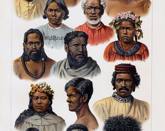 1908  antique NATIVE PEOPLE from Australia and Ocenia print,  faces of the people. Nice fine chromolithograph