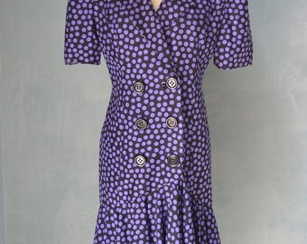 Vintage 80s Purple and Black Polka Dot SILK Fit & Flare Dress RAUL BLANCO for Neiman Marcus