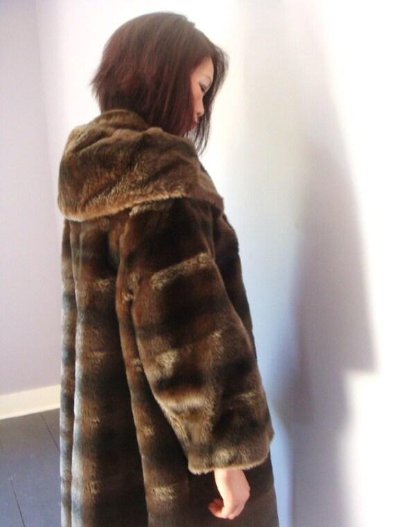 Vintage 1950's Faux Fur Brown Coat Size Medium to Large