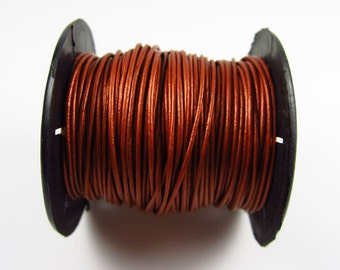 25 Yard Spool - .5 mm Metallic Copper Leather Cord
