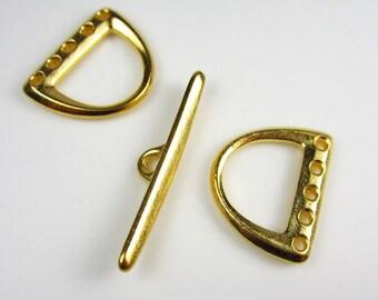 Gold TierraCast 5-Hole D Ring Clasp Set