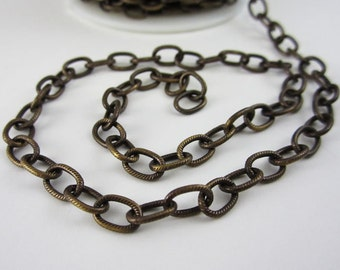 TierraCast 9x6 Brass Oxide Plated Embossed Cable Chain (1 foot)