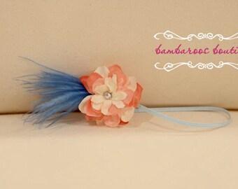 pink headband, baby headband, feather headband, newborn photography props, blue