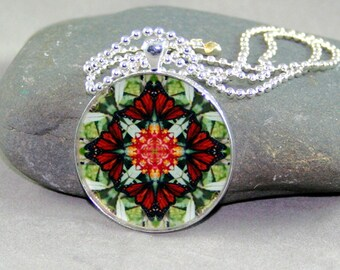 Butterfly Pendant Necklace Boho Chic Mandala New Age Sacred Geometry Hippie Kaleidoscope Beloved Psyche