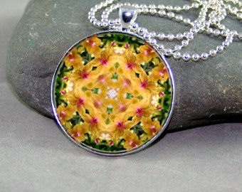Mandala Pendant Necklace Yellow Orchid Boho Chic New Age Sacred Geometry Hippie Kaleidoscope Mod Hippie Unique Gift For Her Whimsical Grace