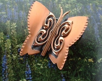 Vintage 1940 Signed RENOIR Copper Butterfly Pin Brooch Hand Hammered Exquisite