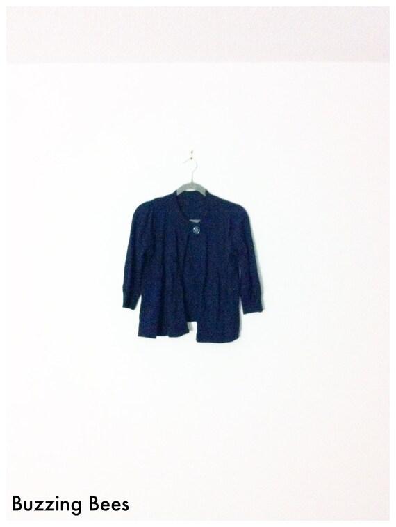 Vintage 80s Cardigan - SALE -  Flirty  - Navy - School Girl -  Button Closure - Babydoll - Size S
