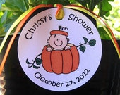 lil pumpkin custom baby shower favor tags for either boy or girl with coordinating ribbon - set of 12