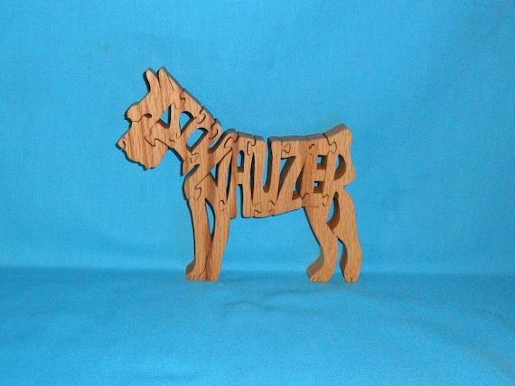 Miniature Schnauzer Dog Breed Handmade Scroll Saw Wooden Puzzle