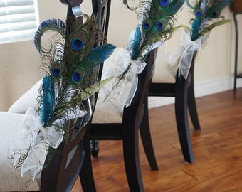 PEACOCK PEW BOWS -- Ceremony Aisle Decoration, Bride and Grooms / Wedding Party Reception Chair Bows Decor -- Customized In Your Colors