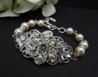 Bridal Pearl Bracelet, Statement Bridal Bracelet, Ivory Swarovski Pearls, Bridal Rhinestone Bracelet, Pearl Rhinestone Bracelet, Cuff,AMELIA
