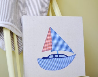 Boat canvas applique, baby or children's bedroom or nusery picture