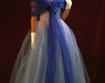 1950s Vintage Dress Blue Tulle Ball Gown Party Prom: Old Hollywood New Look, S