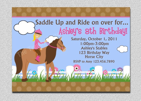 Horseback Riding Birthday Invitation Girls Horseback Riding – Horse Party Invitations