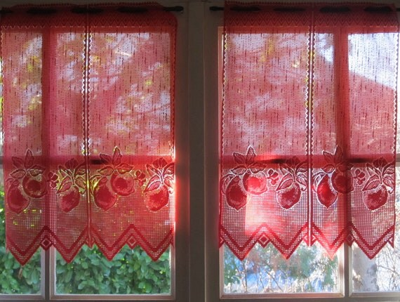 Red French Lace Valance Cafe Curtains Brise By Hatchedinfrance