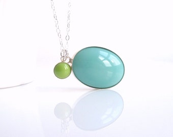 Blue Oval Necklace - .925 sterling silver bezel set pendants of vintage glass in sky blue / mint green - sterling silver delicate chain