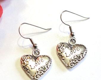 LOVE Scroll Heart Charm Earrings in Silver Alloy - Womens Jewelry - Valentine Hearts