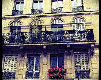 Paris Photography, French Wall Art, Paris Decor, Romantic, Window, Red, Balcony Paris Art, Fine Art Travel Photography, 8x10