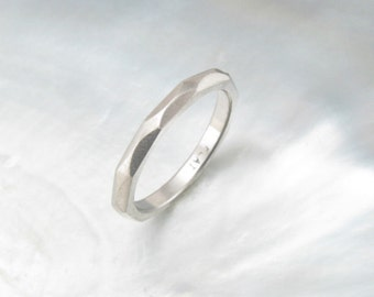 women's platinum wedding ring -- hand forged faceted 2mm wedding band