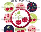 "M2MG Cherry Cute Bottle Cap 1"" Circles Collage Image Set Digital Graphics / Cherries, polkadots, summer - No.182"