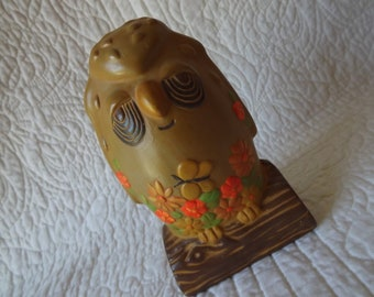 Vintage 1970s Handmade Ceramic Owl Coin Bank