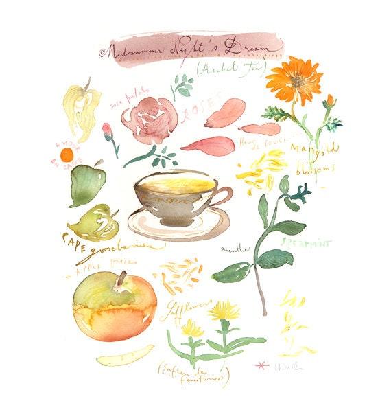 Midsummer night's dream tea, Original watercolor painting, tea, floral, exotic fragrance, Home and garden, Kitchen art