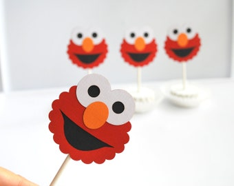 Elmo Cupcake Toppers, Handmade Die cut layered Elmo  Cupcake toppers  A282