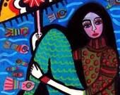 60% Off- Mermaid Art Print Mexican Folk Art Poster Painting fish koi (HG618)