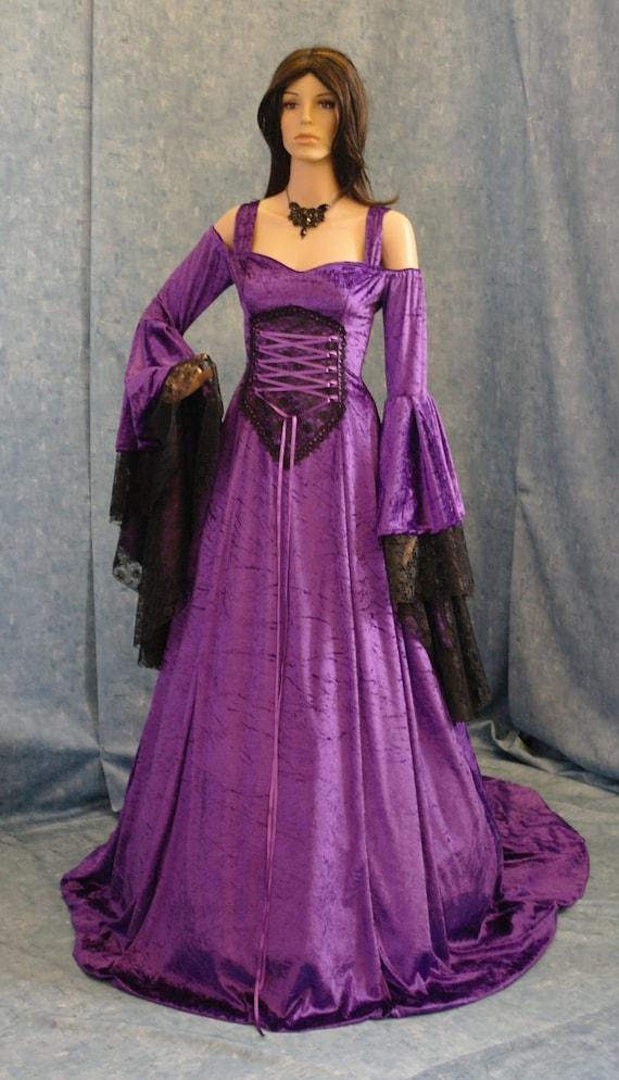Renaissance dress, medieval dress, handfasting dress, gothic wedding dress, whitby goth dress, halloween wedding dress