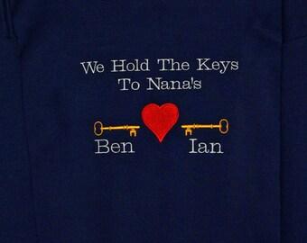 Nanny Sweatshirt, Keys To Heart, MeMa, MoMo, Momsy, Nama, Grandparent Gift, Custom Personalized Three Names, No Shipping Fee, Ships AGFT 244
