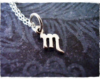 Tiny Scorpio Zodiac Sign Necklace - Sterling Silver Scorpio Charm on a Delicate Sterling Silver Cable Chain or Charm Only