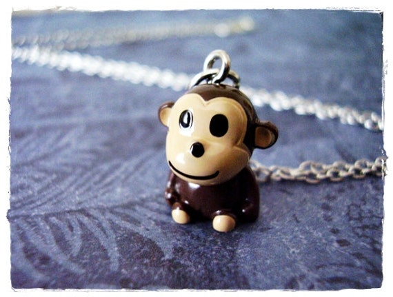 Baby Monkey Necklace - Brown Resin Monkey Charm on a Delicate Silver Plated Cable Chain or Charm Only